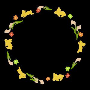 うさぎとススキと紅葉の円形囲みフレーム・枠イラスト