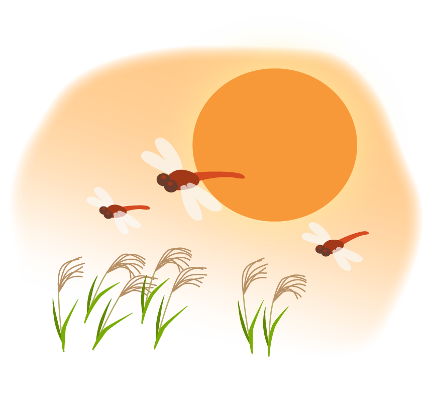 夕日と赤トンボとススキの秋のイラスト