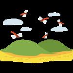 赤トンボが飛ぶ秋の田舎風景のイラスト