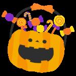 ハロウィン・かぼちゃに詰めたキャンディーのイラスト