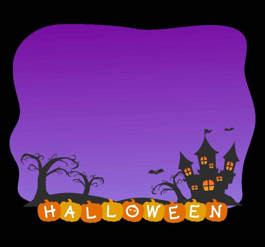 ハロウィン・お城と木の紫色フレーム・枠イラスト