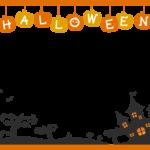 ハロウィン・お城と「HALLOWEEN」文字の上下オレンジ色フレーム・枠イラスト