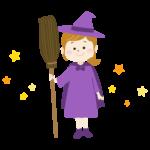 ハロウィン・ほうきを持った魔女のイラスト