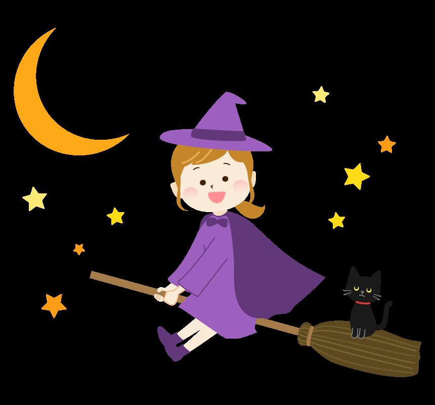 ハロウィン・ほうきに乗って飛ぶ魔女と黒ネコのイラスト