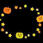 ハロウィン・かぼちゃと星の囲みフレーム・枠イラスト