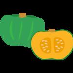 かぼちゃ(南瓜)と断面のイラスト