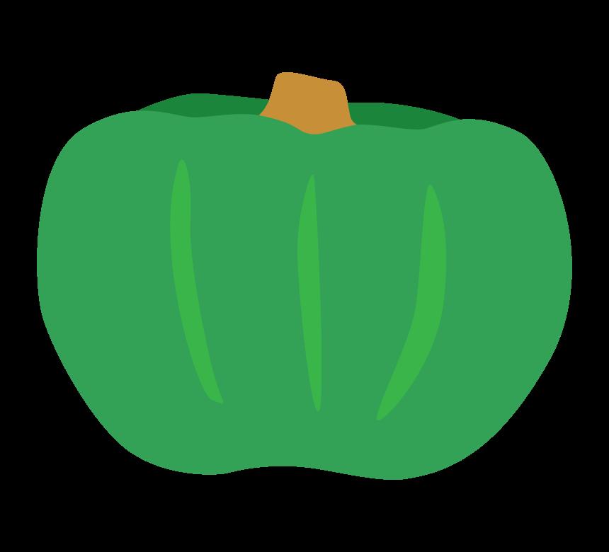 緑色のかぼちゃ(南瓜)のイラスト