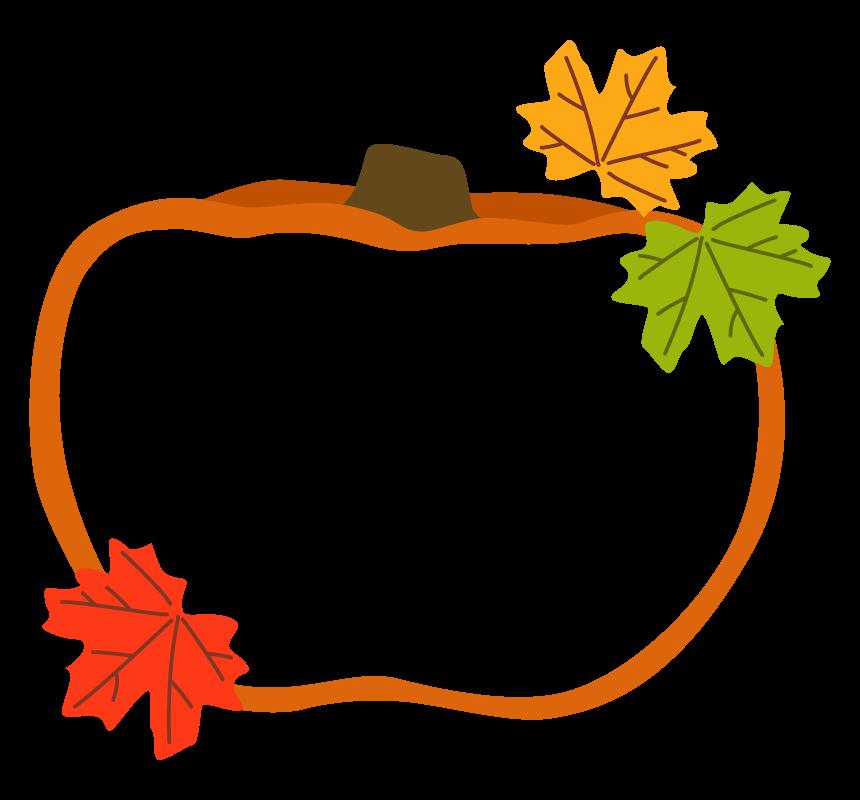 オレンジ色のかぼちゃ(南瓜)の形と落ち葉のフレーム・枠イラスト
