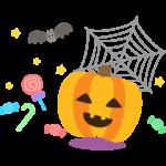 ハロウィン・かぼちゃとキャンディーとクモの巣のイラスト