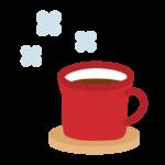 赤いマグカップのココアのイラスト