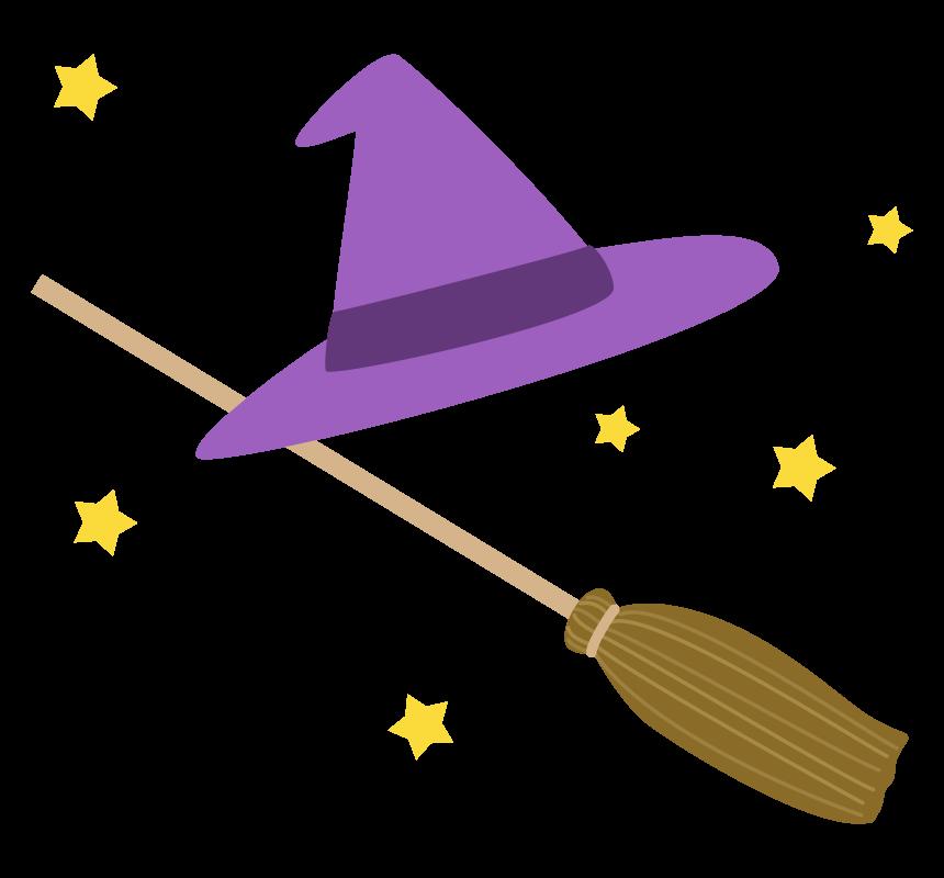 魔女の帽子とホウキのイラスト