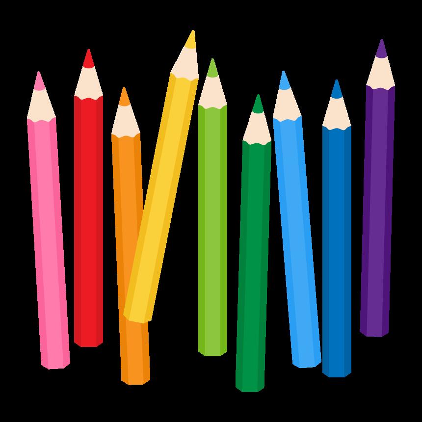 カラフルな色鉛筆のイラスト
