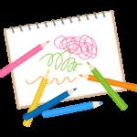 色鉛筆とスケッチブックのイラスト