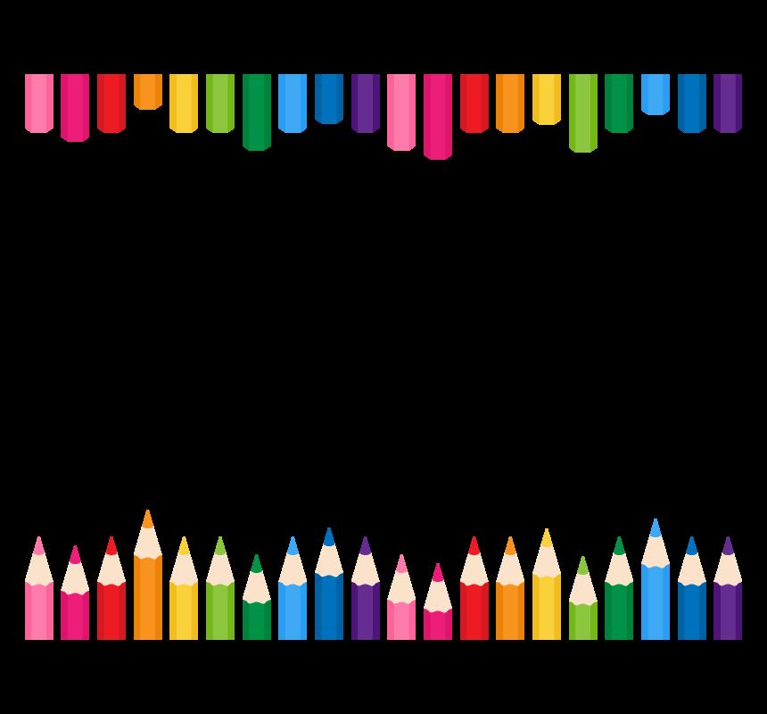 カラフルな色鉛筆の上下フレーム・枠イラスト