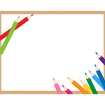 カラフルな色鉛筆の茶色四角フレーム・枠イラスト