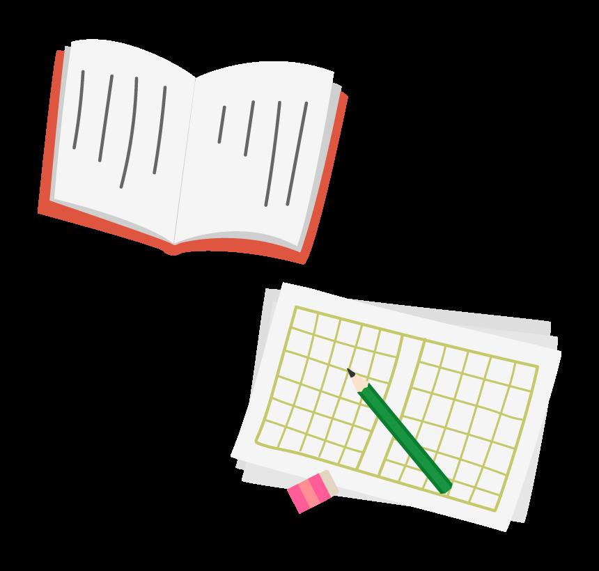 縦書きの本や原稿用紙の国語のイラスト