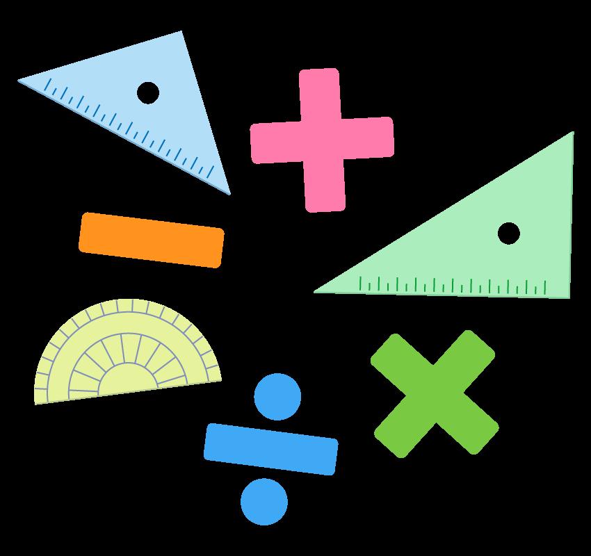 三角定規や分度器と算数のイラスト