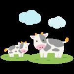 牧場のかわいい2頭の牛のイラスト